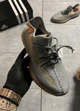 Adidas yeezy boost 350 v2 grey orange, женские кроссовки адидас