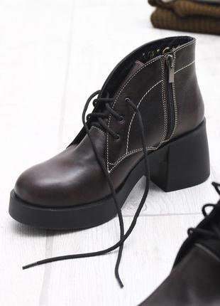 Скидка до 24.04!!  коричневые ботинки на большом каблуке