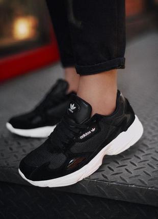 Adidas falcone шикарные замшевые кроссовки адидас в черном цве...