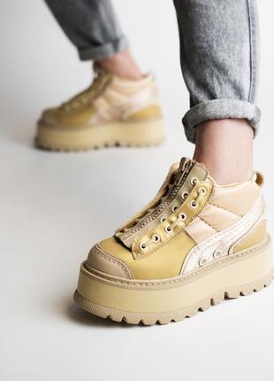 Puma x fenty zipped sneaker boot кожаные женские кроссовки пум...