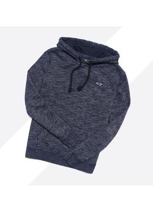 Hollister s / тёмно-синий мягкий худи с вышивкой лого на груди