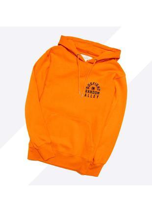 H&m s / новый ярко оранжевый худи с большим чёрным принтом на ...
