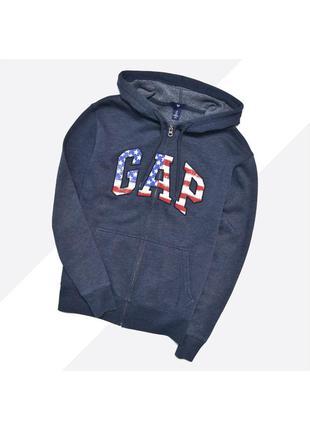 Gap s / тёмно-синий худи на молнии с большим лого на груди