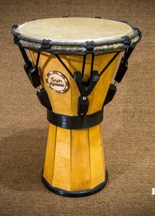 Джембе барабан с настройкой под ключ, с дерева, мембрана кожа