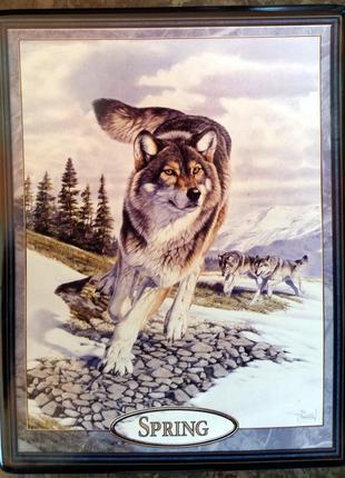 Продам фарфоровую картину с изображением стаи волков весной.