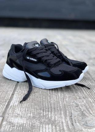 Adidas falcone замшевые женские кроссовки адидас в черном цвет...