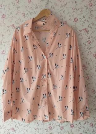 Изумительная лёгкая персиковая блуза рубашка большой размер