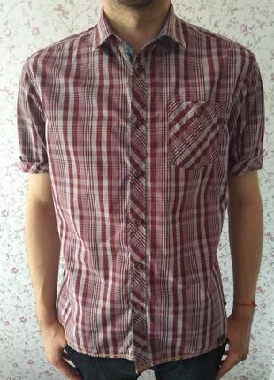 Мужская летняя рубашка в клетку с коротким рукавом