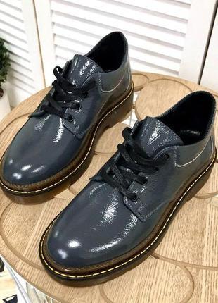 36-40. люксовые лаковые кожаные туфли броги на шнурках. хит-2020