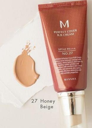Вв крем missha m perfect cover bb cream 27 honey beige бб крем