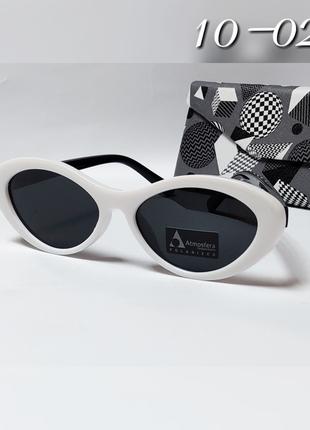 Женские очки узкие овалы с поляризацией в белой оправе с черны...