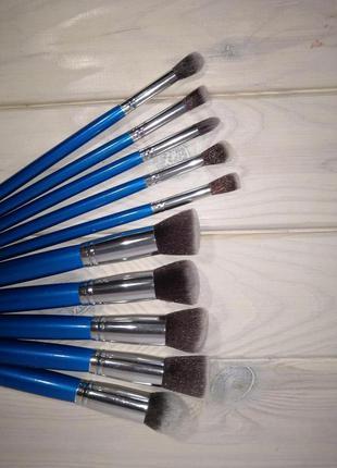 Кисти для макияжа набор 10 шт таклон 15-18 см blue/silver prob...