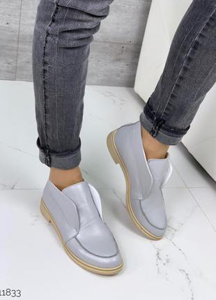 Серые кожаные туфли лоферы,серые высокие туфли на низком каблу...