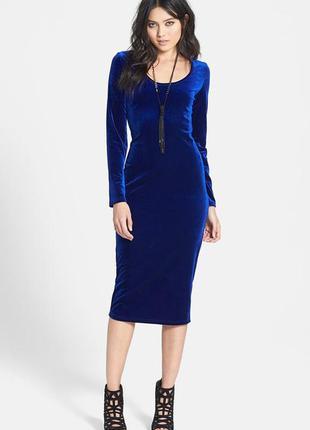 Бархатное велюровое платье синего электрик цвета