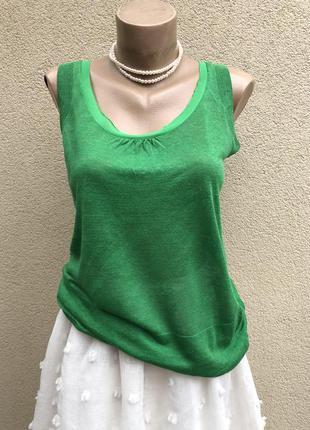 Зеленая,трикотаж,лён блуза,майка,кофточка,люкс бренд,оригинал,