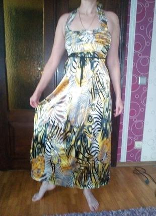 Платье — сарафан с принтом летнее