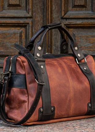 Саквояж из винтажной кожи, кожаная дорожная сумка