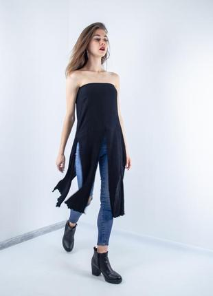 Zara черный удлиненный топ с разрезами, длинный топ-бюстье, пл...