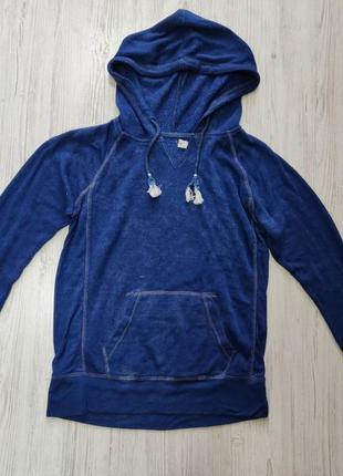 Синее худи с капюшоном и кенгуру карманом