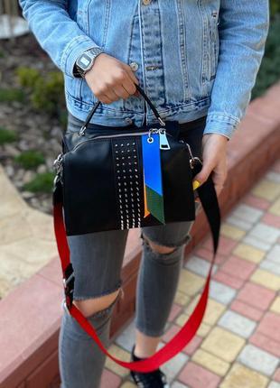 Женская кожаная сумка polina & eiterou через на плечо чёрная ж...