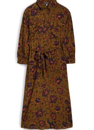 Платье-рубашка из визкозы, длина миди