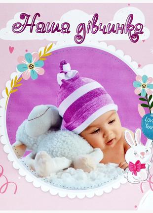 Детский фотоальбом с анкетой на украинск языке для новорожденного