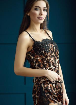 Шелковая пижама в леопардовый принт ручной работы от украинско...