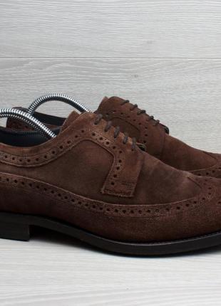 Замшевые мужские туфли броги barker, размер 43
