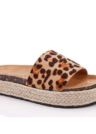 Шлепанцы леопард тренд плетеная подошва