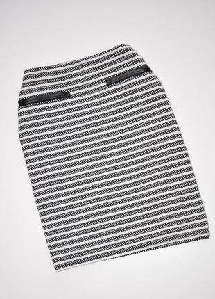 Юбка мини в полоску и вставками с эко-кожи карандаш, размер м