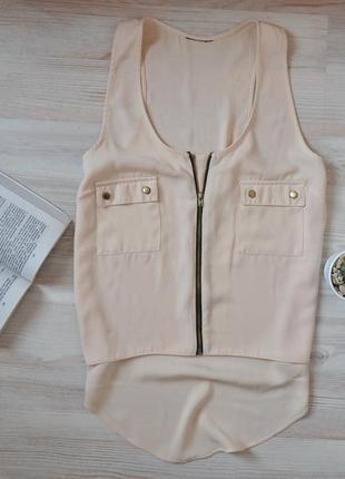 Пудровая блуза майка топ с молнией и карманами