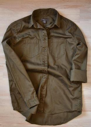 Базовая рубашка хаки милитари хлопок