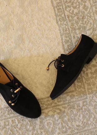 Черные туфли на шнурках, оксфорды, броги 39, 41 размера на низ...