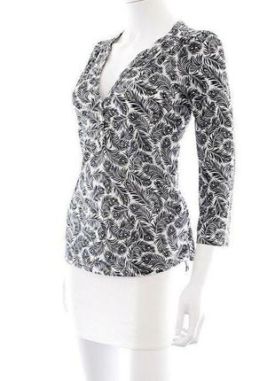 Блуза h&m трикотажная в черно-белый принт,молодежная одежда