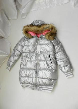 Куртка серебро с мехом