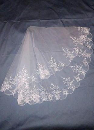 Фата свадебная с вышивкой м37