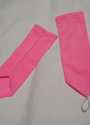 Перчатки нарядные яркие розовые