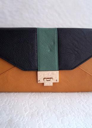 Трехцветная сумочка клатч на замочке