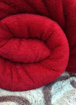 Плед флис, цвет бордовый, покрывало микрофибра