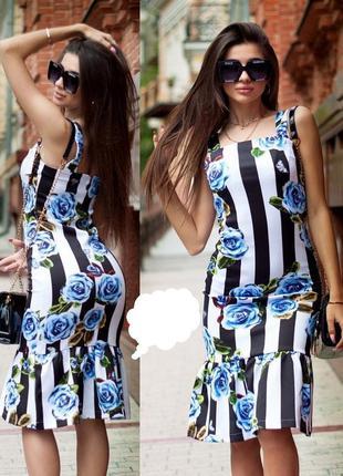 Шикарное платье миди в полоску на худышку