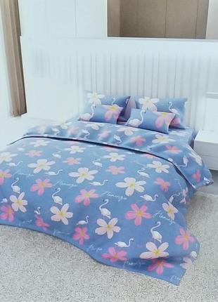 Полуторный постельный комплект из бязи gold - фламинго и цветы...