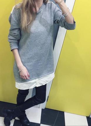Свитшот туника платье рубашка толстовка свитер кофта zara зара...