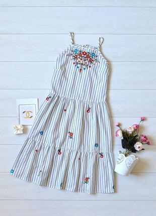 Красиве плаття в полоску з вишивкою primark