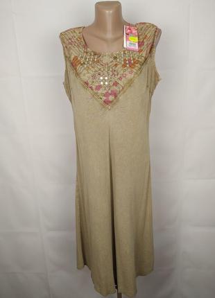 Платье красивое натуральное легкое вышивка паетки uk uk 14-16/...