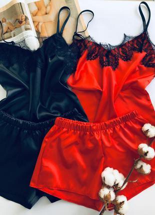 Комплект майка и шорты из нежного атласа для дома и сна