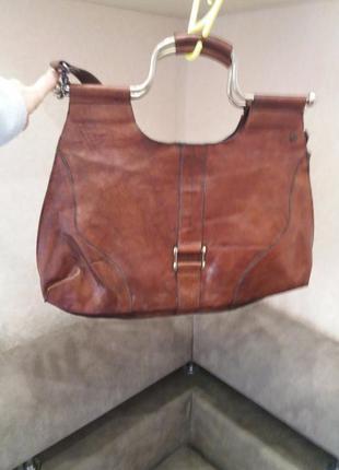 Рыжая коричневая винтажная сумка кожа jeanne d'arc