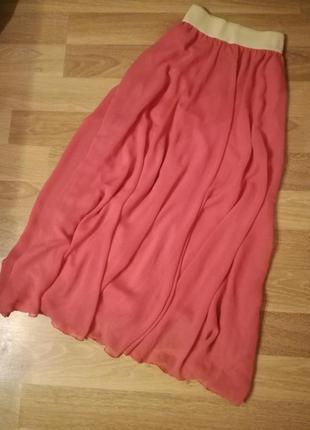 Шифоновая юбка макси в пол,легкая воздушная с подкладкой