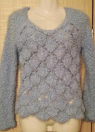 Мягкий,пушистый свитер травка нежно голубого цвет