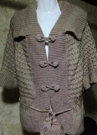 Вязаный кардиган,кофта,свитер ручная вязка .большой размер