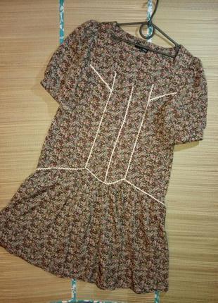 Next некст легкое платье цветочный принт в ретро стиле бохо волан